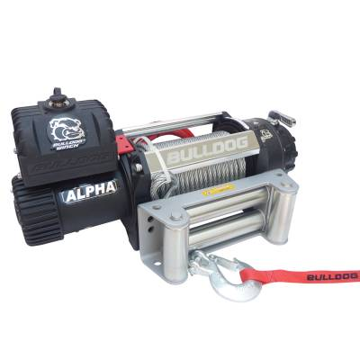Bulldog Winch - Bulldog Winch 12500lb Alpha Series winch, 90ft wire rope, Roller Fairlead 10027