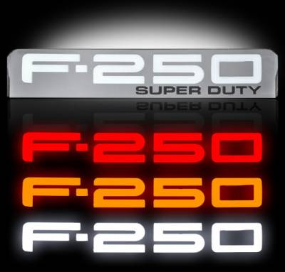Recon Lighting - 08-10 Ford F250 Illuminated Emblems 2-Piece Kit Includes Driver & Passenger Side Fender Emblems in Chrome - Illuminates in 3 Different User Selectable Colors - F250 in AMBER, RED, & WHITE