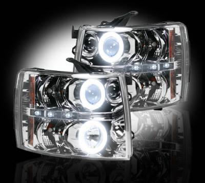 Recon Lighting - Chevrolet Silverado 07-13 1500 (2nd GEN Single-Wheel & 07-14 Dually) PROJECTOR HEADLIGHTS w/ CCFL HALOS & DRL - Clear / Chrome