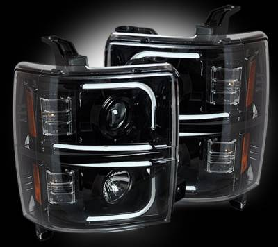 Recon Lighting - Chevrolet Silverado 2500/3500 Heavy Duty 14-17 (3rd GEN) PROJECTOR HEADLIGHTS w/ Ultra High Power Smooth OLED HALOS & DRL - Smoked / Black