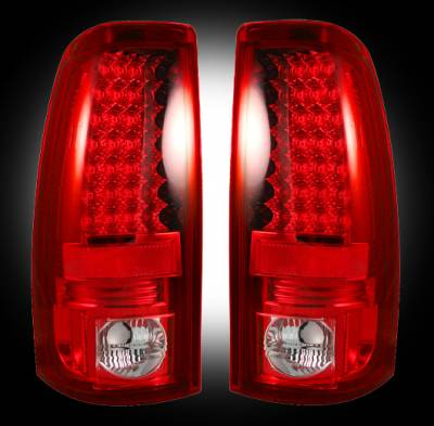 "Recon Lighting - Chevy Silverado & GMC Sierra 99-07 (Fits 2007 ""Classic"" Body Style Only) LED TAIL LIGHTS - Red Lens"