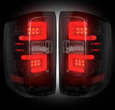 Recon Lighting - Chevy Silverado 14-17 1500/2500/3500 (Fits 3rd GEN All Body Styles Chevy Silverado & GMC Sierra 15-17 Dually ONLY) LED TAIL LIGHTS - Smoked Lens