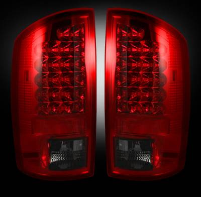 Recon Lighting - Dodge 02-06 RAM 1500 & 03-06 RAM 2500/3500 LED Tail Lights - Dark Red Smoked Lens