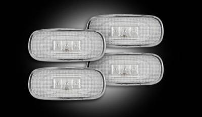 Recon Lighting - Dodge 02-09 RAM Dually Fender Lenses (4-Piece Set) w/ 2 Red LED Lights & 2 Amber LED Lights - Clear Lens w/ Chrome Trim