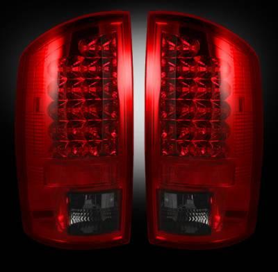 Recon Lighting - Dodge 07-08 RAM 1500 & 07-09 RAM 2500/3500 LED TAIL LIGHTS - Dark Red Smoked Lens