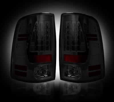 Recon Lighting - Dodge 09-14 RAM 1500 & 10-14 RAM 2500/3500 (Replaces Factory OEM Halogen Tail Lights) - Smoked Lens