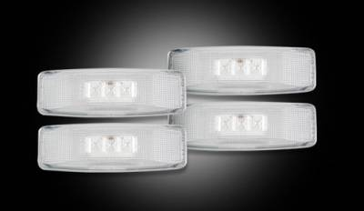 Recon Lighting - Dodge 94-01 RAM Dually Fender Lenses (4-Piece Set) w/ 2 Red LED Lights & 2 Amber LED Lights - Clear Lens w/ Chrome Trim