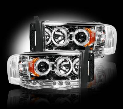 Recon Lighting - Dodge RAM 02-05 1500/2500/3500 PROJECTOR HEADLIGHTS - Clear / Chrome