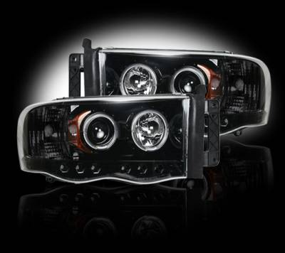 Recon Lighting - Dodge RAM 02-05 1500/2500/3500 PROJECTOR HEADLIGHTS - Smoked / Black