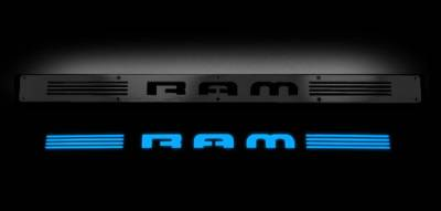 Recon Lighting - Dodge RAM 02-14 1500 & 03-14 2500/3500 Billet Aluminum Door Sill / Kick Plate (2pc Kit Fits Driver & Front Passenger Side Doors Only) in Black Finish - RAM in BLUE ILLUMINATION