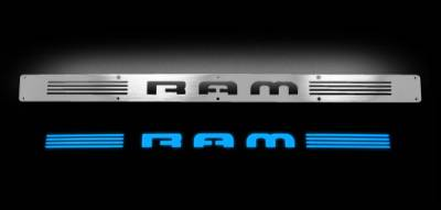 Recon Lighting - Dodge RAM 02-14 1500 & 03-14 2500/3500 Billet Aluminum Door Sill / Kick Plate (2pc Kit Fits Driver & Front Passenger Side Doors Only) in Brushed Finish - RAM in BLUE ILLUMINATION