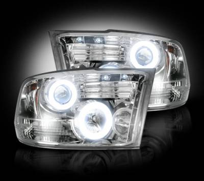 Recon Lighting - Dodge RAM 09-13 1500 & 10-14 2500/3500 PROJECTOR HEADLIGHTS w/ CCFL HALOS & DRL - Clear / Chrome