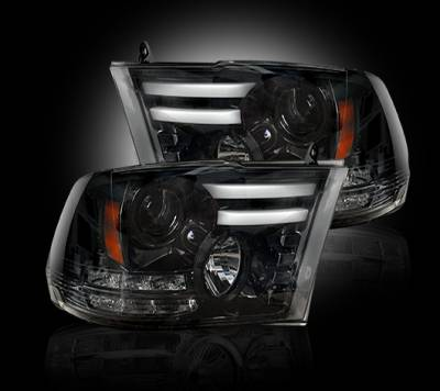 Recon Lighting - Dodge RAM 14-15 1500 & 15-16 2500/3500 PROJECTOR HEADLIGHTS w/ Ultra High Power Smooth OLED DRL & High Power Amber LED Turn Signals - Smoked / Black
