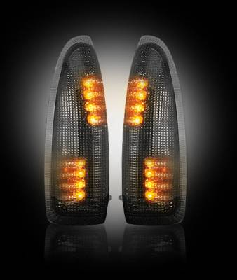 Recon Lighting - Ford 03-07 F250/F350 Superduty & Excursion Side Mirror Lenses (2-Piece Set) w/ AMBER LED Running Lights & Turn Signals - Smoked Lens