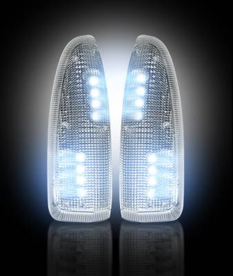 Recon Lighting - Ford 03-07 F250/F350 Superduty & Excursion Side Mirror Lenses (2-Piece Set) w/ WHITE LED Running Lights & Turn Signals - Clear Lens