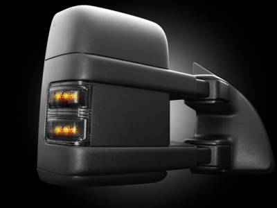 Recon Lighting - Ford 08-16 F250/F350 Superduty Side Mirror Lenses (2-Piece Set) w/ AMBER LED Running Lights & Turn Signals - Smoked Lens