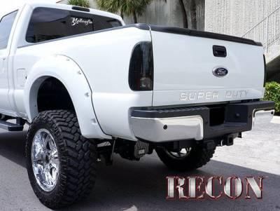 Recon Lighting - Ford 08-16 SUPERDUTY Raised Logo Acrylic Emblem Insert 3-Piece Kit for Hood, Tailgate, & Interior - CHROME Tailgate - BLACK Front - CHROME Interior