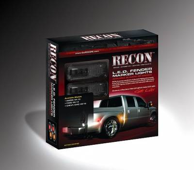 Recon Lighting - Ford 11-15 Superduty Dually Fender Lenses (4-Piece Set) w/ 2 Red LED Lights & 2 Amber LED Lights - Smoked Lens w/ Black Trim