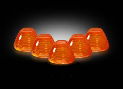 Recon Lighting - Ford 99-16 Superduty (5-Piece Set) Amber Cab Roof Light Lenses Only & Amber Xenon Bulbs