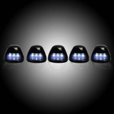 Recon Lighting - Ford 99-16 Superduty (5-Piece Set) Smoked Lens with White LED's - Complete Cab Light Kit with all wiring & hardware