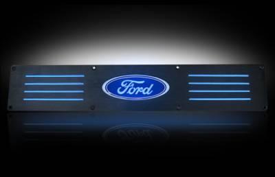 Recon Lighting - Ford 99-16 SUPERDUTY (Fits 4-Door Super Crew Rear Doors Only) Billet Aluminum Door Sill / Kick Plate in Black Finish - Ford Logo in BLUE ILLUMINATION