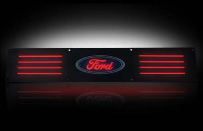 Recon Lighting - Ford 99-16 SUPERDUTY (Fits 4-Door Super Crew Rear Doors Only) Billet Aluminum Door Sill / Kick Plate in Black Finish - Ford Logo in RED ILLUMINATION