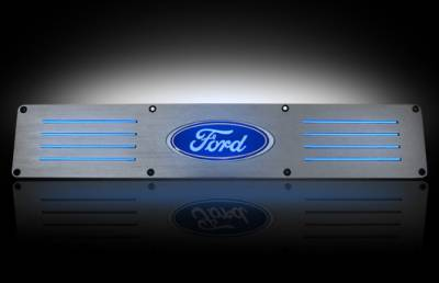 Recon Lighting - Ford 99-16 SUPERDUTY (Fits 4-Door Super Crew Rear Doors Only) Billet Aluminum Door Sill / Kick Plate in Brushed Finish - Ford Logo in BLUE ILLUMINATION