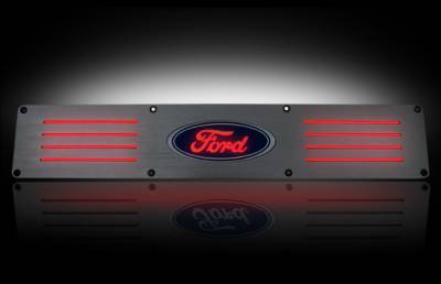 Recon Lighting - Ford 99-16 SUPERDUTY (Fits 4-Door Super Crew Rear Doors Only) Billet Aluminum Door Sill / Kick Plate in Brushed Finish - Ford Logo in RED ILLUMINATION