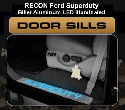 Recon Lighting - Ford 99-16 SUPERDUTY Billet Aluminum Door Sill / Kick Plate (2pc Kit Fits Driver & Front Passenger Side Doors Only) in Brushed Finish - SUPERDUTY in BLUE ILLUMINATION