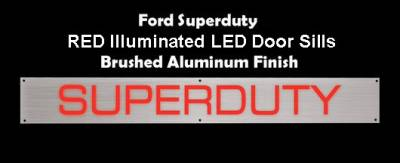 Recon Lighting - Ford 99-16 SUPERDUTY Billet Aluminum Door Sill / Kick Plate (2pc Kit Fits Driver & Front Passenger Side Doors Only) in Brushed Finish - SUPERDUTY in RED ILLUMINATION