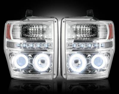 Recon Lighting - Ford Superduty 08-10 F250/F350/F450/F550 PROJECTOR HEADLIGHTS w/ CCFL HALOS & DRL - Clear / Chrome