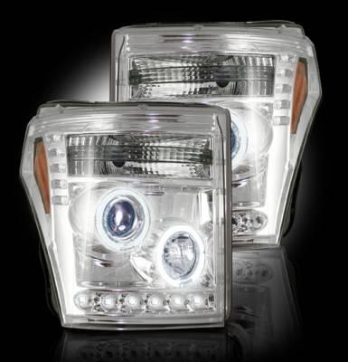 Recon Lighting - Ford Superduty 11-15 F250/F350/F450/F550 PROJECTOR HEADLIGHTS - Clear / Chrome