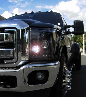 Recon Lighting - Ford Superduty 11-15 F250/F350/F450/F550 PROJECTOR HEADLIGHTS - Smoked / Black