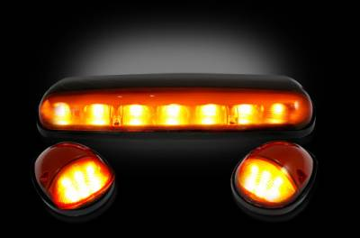 Recon Lighting - GMC & Chevy 02-07 (1st GEN Classic Body Style) Heavy-Duty (3-Piece Set) Amber Cab Roof Light Lens with Amber LED's - (Complete Wiring Kit Sold Separately)