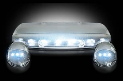 Recon Lighting - GMC & Chevy 02-07 (1st GEN Classic Body Style) Heavy-Duty (3-Piece Set) Clear Cab Roof Light Lens with White LED's - (Complete Wiring Kit Sold Separately)