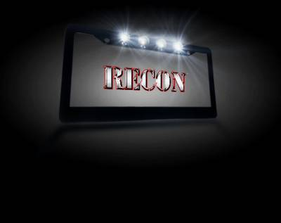 Recon Lighting - Black Aluminum License Plate Frame with Four 6000K XML CREE LED Reverse Lights - Fits all Standard U.S. License Plates