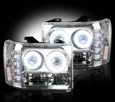 Recon Lighting - GMC Sierra 07-13 (2nd GEN) PROJECTOR HEADLIGHTS w/ CCFL HALOS & DRL - Clear / Chrome