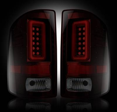 Recon Lighting - GMC Sierra 15-16 2500/3500 (Fits 3rd GEN Single-Wheel ONLY) LED TAIL LIGHTS - Dark Red Smoked Lens