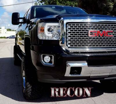 Recon Lighting - GMC Sierra 14-17 (3nd GEN) PROJECTOR HEADLIGHTS w/ SMOOTH OLED HALOS & DRL - Clear / Chrome