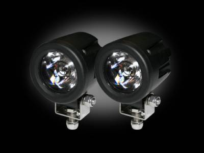 """Recon Lighting - High-Power 3000 Lumen LED Driving / Utility Lights w/ Impact Resistant Circle Shaped Housing 6000K White LEDs - Sold as a Pair - Chrome Internal Housing with Clear Lens w/ Black Reinforced Housing - Dimensions are (LxWxH) 2.00"""" x 2.50"""" x 2.00"""""""
