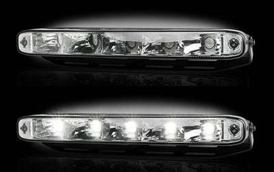 """Recon Lighting - LED Daytime Running Lights w White LED's & Rectangular Shaped Housing aka """"AUDI Style"""" - CLEAR LENS"""