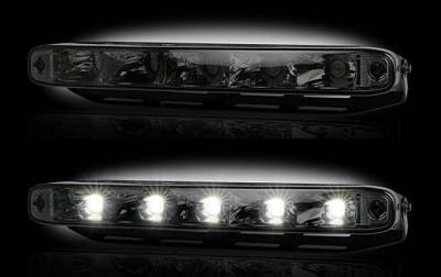 "Recon Lighting - LED Daytime Running Lights w White LED's & Rectangular Shaped Housing aka ""AUDI Style"" - SMOKED LENS"