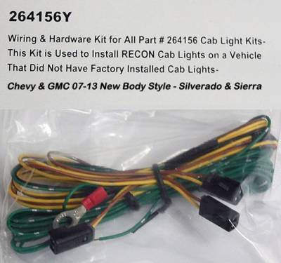 Recon Lighting - Wiring & Hardware Kit for All Part #264156 Cab Light Kits - This Kit is Used to Install RECON Cab Lights on a Vehicle That Did Not Have Factory Installed Cab Lights - GMC & Chevy 07-14 2nd GEN Body Style) Heavy-Duty (3-Piece Set)
