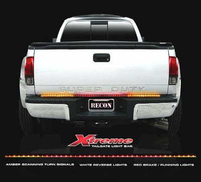 "Recon Lighting - 60"" Tailgate Bar w/ Amber ""Scanning"" LED Turn Signals & Red LED Brake/Running Lights & White LED Reverse Lights (Includes Part # 2641X - In-Line Resistor Box for CANBUS electrical systems) (60"" bar fits most full-sized trucks and SUV's)"