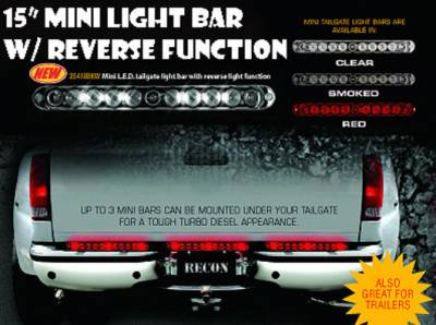 "Recon Lighting - 15"" Mini Tailgate Light Bar w/ Red LED Running Lights, Brake Lights, & Turn Signals with Smoked Lens with White LED Reverse Lights (Only Fits FORD & CHEVY/GMC Turbo Diesel & Heavy Duty Trucks)"