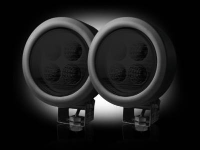 "Recon Lighting - 1800 Lumen LED Driving / Utility Light Kit w Circle Shaped Housing - Four White 12W 6500K LED's in Each Light - Sold as a Pair - Black Chrome Internal Housing with Clear Lens w/ Black Housing - Housing Dimensions are (LxWxH) 4.65"" x 2.75"" x 4.65"""