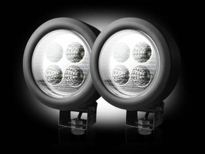 """Recon Lighting - 1800 Lumen LED Driving / Utility Light Kit w Circle Shaped Housing - Four White 12W 6500K LED's in Each Light - Sold as a Pair - Chrome Internal Housing with Clear Lens w/ Black Housing - Housing Dimensions are (LxWxH) 4.65"""" x 2.75"""" x 4.65"""""""