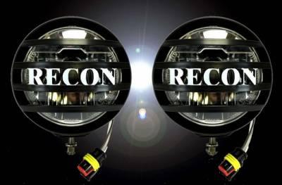 "Recon Lighting - 3"" Round 4000 Lumen High Intensity 6000K 18-Watt LED Driving Light Kit - 2pc Set with Complete Wiring Hardware & RECON Rock Guard"