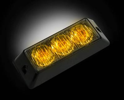 Recon Lighting - 3-LED 12 Function 3-Watt High-Intensity Strobe Light Module w Black Base - Amber Color