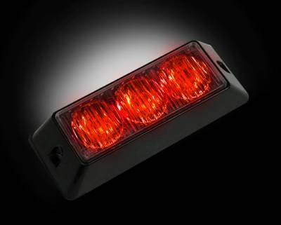 Recon Lighting - 3-LED 12 Function 3-Watt High-Intensity Strobe Light Module w Black Base - Red Color